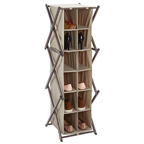 mDesign Mueble zapatero alto para el pasillo, armario o dormitorio – Zapatero estrecho de metal y tela – Organizador de zapatos con 12 compartimentos – gris topo y bronce