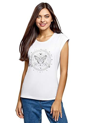 oodji Ultra Mujer Camiseta de Algodón con Estampado y Perlas Artificiales, Blanco, ES 34 / XXS