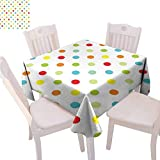 Mantel cuadrado de lunares con diferentes colores románticos detalles diagonales reutilizables, 36 x 91,4 cm, multicolor