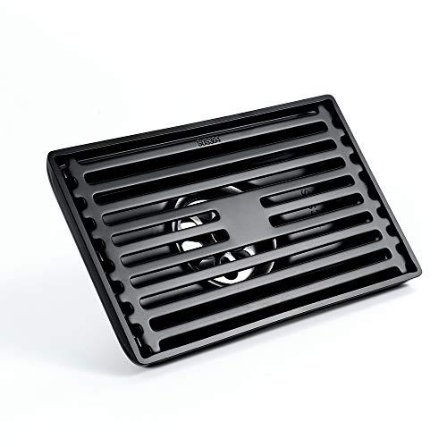 SHUGUANG Schwarz Duschablauf Rechteckig 304 Edelstahl Duschrinne mit Haarsieb Bodensiphon Duschablauf Gitter Bodenbefestigung Ablaufrinne für Badezimmer und Küche, 14×9 cm