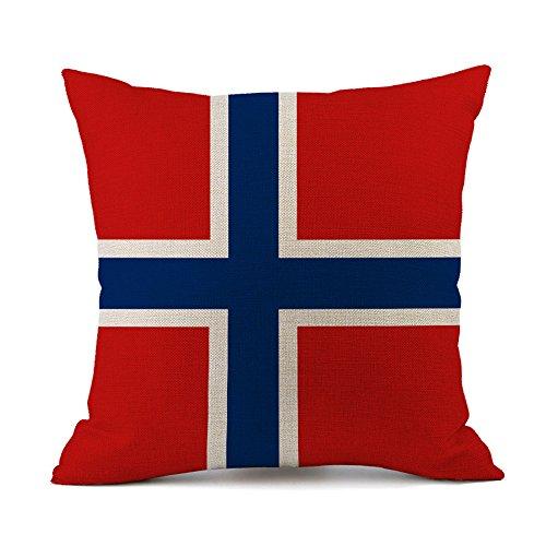National Flagge Kissenbezug Baumwolle Leinen Dekorative Kissenhülle Sofa Auto Home Decor 45 x 45cm Norwegen