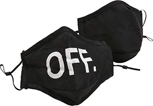 Mundmaske aus Stoff mit Mode Motiv, wiederverwendbare Baumwollmaske OFF Face Mask, Schwarz, 1 Stück