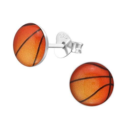 Laimons Mädchen Kids Kinder-Ohrstecker Ohrringe Kinderschmuck Basketball Sport Braun Schwarz Platte Scheibe aus Sterling Silber 925