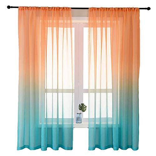 2 Panels Mermaid Ombre Sheer Curtains Turquoise Purple Light Filtering Rod Semi Curtain for Teen Girl Living Room Bedroom (Orange & Turquoise, W52 xL63)