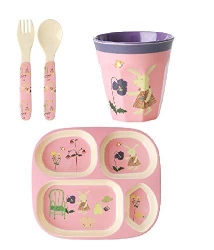 Rice - Caja de almuerzo de melamina con diseño de conejos compuesto de un vaso, cubiertos y plato con compartimentos