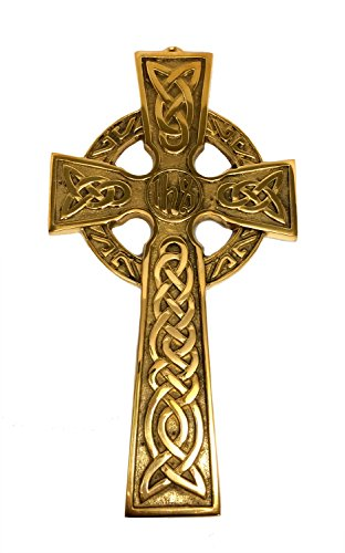Biddy Murphy Celtic Cross Wall Hanging Solid Brass 10 ½ Inches Tall by 5 ¾ Inches Wide Ready to Hang Irish Gift Housewarming Wedding