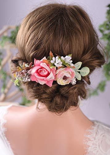 Anglacesmade Braut-Haarkamm, Bordeaux, Blumenkamm, rosa Rose, Blumenkopfschmuck, für Damen und Mädchen