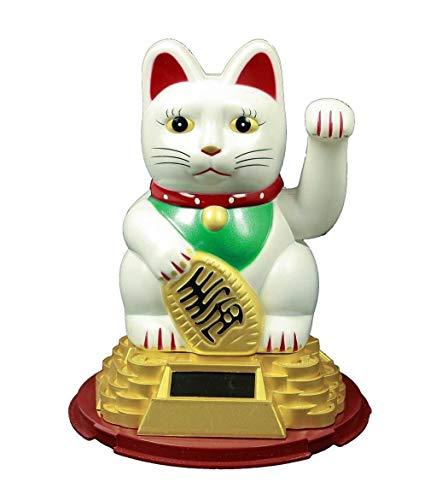 HAAC Solar Winkekatze Katze Glückskatze Glücksbringer 16 cm Farbe Weiss rot