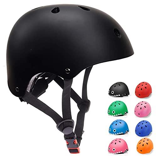Casco Bicicleta para Niños Casco Infantil Ajustable para Monopatín Patinaje BMX Esquiar, Casco para multibles Deportes niño niña de Edad de 3-13 años (Negro, Small)