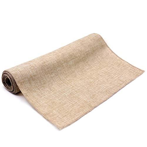 Banquete de Boda Camino de Mesa Arpillera Yute Natural Lino Imitado Rústico Decoración de la Mesa Accesorios Mantel Textiles para el hogar, Caqui, 30X275cm