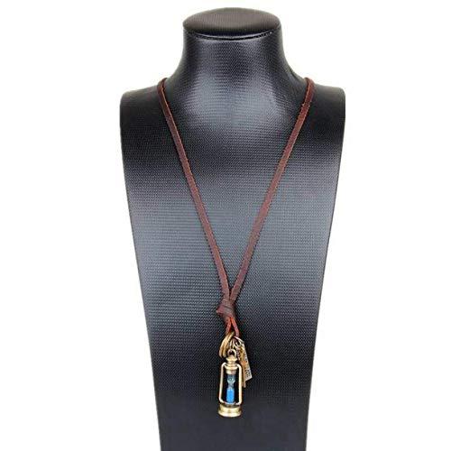 ZHONGJIUYUAN 1 Pieza Lindo Joyería Declaración Collares Colgantes Cuero Cuerda Collares Mujer Gargantilla Colar Linterna Reloj de Arena Collar Hombres Gargantilha (Azul Arena)