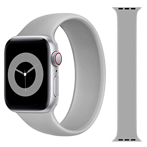 Solo Loop Strap Compatible with Apple Watch Band 38mm 40mm 42mm 44mm, Sport Elastics Silicone Apple Watch Bands Women Men, Replacement Wristband for iWatch Series 6 5 4 3 2 1 SE (Grey 38M)