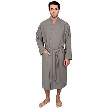 TowelSelections Men's Robe, Kimono Waffle Spa Bathrobe Medium/Large Wild Dove