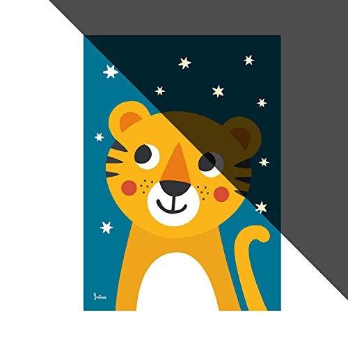 Julica Design Nachtleuchtende Bilder fürs Kinderzimmer | Poster | Wand-Bild für Baby-Zimmer | Motiv: Tiger | 50 x 70 cm