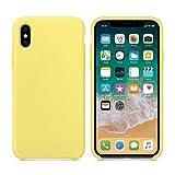 CABLEPELADO Funda Silicona iPhone X Textura Suave Color Amarillo Claro