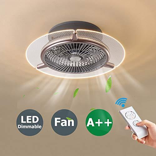 Ventilador de techo con lámpara y control remoto, Ventilador con lámpara LED de 48W, Ajuste de la velocidad del viento y 3 colores Regulable, Ventilador con función de guía de viento, Φ56cm (Marrón)
