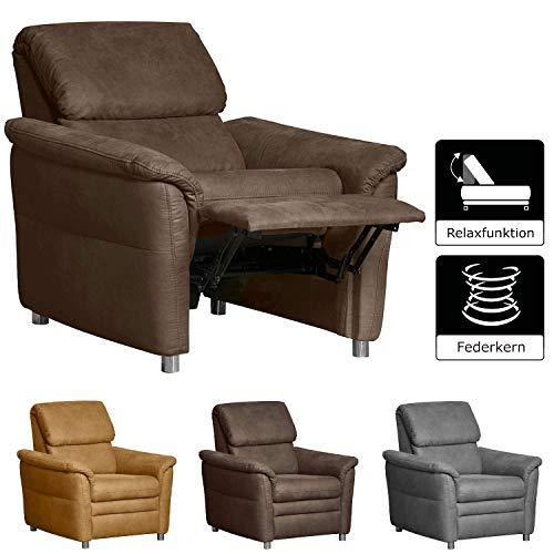 Cavadore Sessel Chalsay inkl. Relaxfunktion / mit Federkern / moderner Sessel mit Liegefunktion / Größe: 90 x 94 x 92 cm (BxHxT) / Farbe: Braun (chocco)