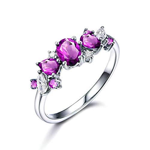 Bishilin Alianza de Plata Esterlina S925 para Mujeres Ajuste Cómodo Anillos de Amistad Púrpura Oval Moda Cristal Piedra del Zodíaco Anillo de Compromiso de Boda con Bolsa de Joyeríaplata Talla: 25