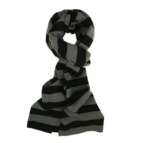 TrendsBlue Premium Soft Knit Striped Scarf, Gray & Black