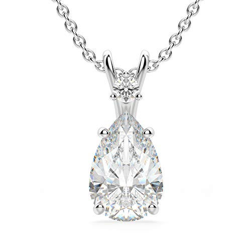 Bhumi Gems 3CT Pear Cut Colorless Moissanite Necklace for Women,18 inch Chain,...