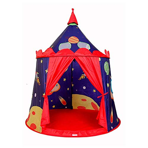WY-YAN Children Play Tent Children's Indoor Play House Cosmic Castle Tent Foldable Cotton Canvas Teepee Photography Tipi With Carry Bag Toys for Girls/Boys Kids (Color : Blue red, Size : As shown)