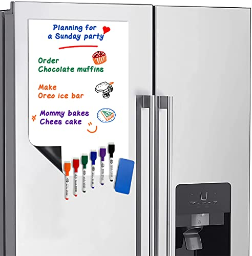 """Magnetic Fridge Whiteboard Sheet for Kitchen Refrigerator - Dry Erase Magnetic White Board Organizer & Planner 11""""x17"""" Strong Magnet with Stain Resistant Technology Includes 6 Markers and Big Eraser"""