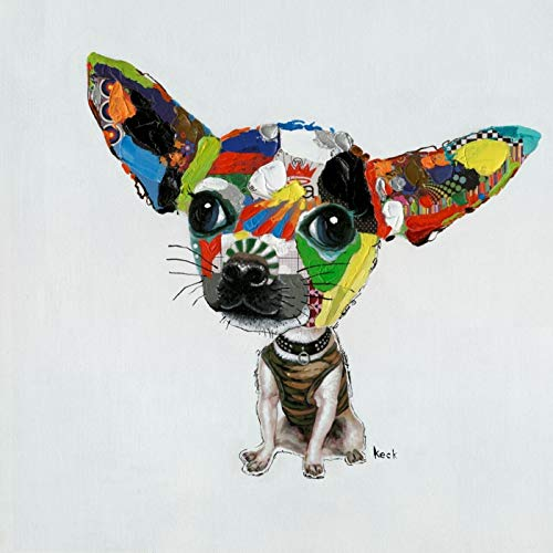 Kare Ölbild Chihuahua, 33051, moderne handbemalte Wandbilder, handgemalter Hund, bunt (H/B/T) 50x50x1,5cm