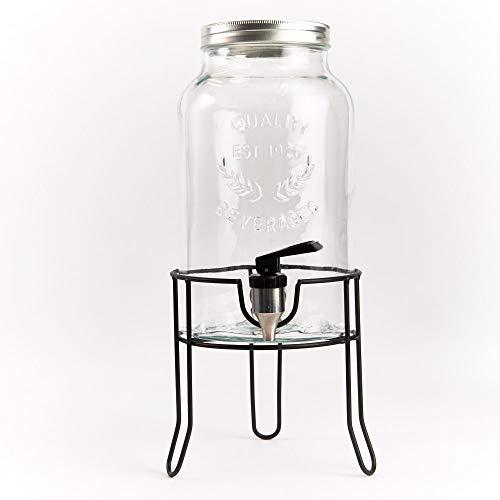 ana® Getränkespender COUNTRY STYLE | aus Glas mit Edelstahlzapfhahn und Schraubdeckel | inkl. Ständer (5,5 Liter)