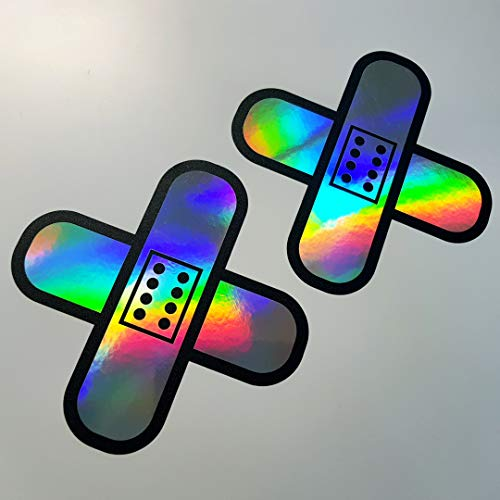 folien-zentrum 2X Pflaster Oilslick Rainbow Flip Flop Schwarz Aufkleber Metallic Effekt Shocker Hand Auto JDM Tuning OEM Dub Decal Stickerbomb Bombing Sticker Illest Dapper Fun Oldschool