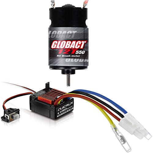 Hobbywing QuicRun WP 1060 60A Brushed ESC and Globact 550 12T Brushed Motor Waterproof Kit for 1/10 RC Short Course Truck Car Traxxas Slash 2WD Redcat ARRMA AXIAL HSP HPI Wltoys Kyosho HELION 10SC