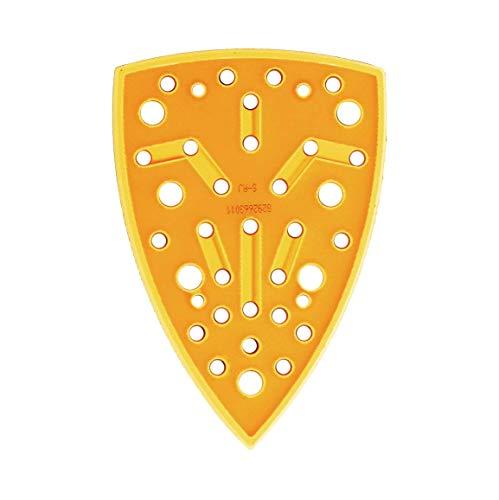 Mirka Schleifschuh Härtegrad Medium + Schutzauflage 100x152x152mm Klett für Deltaschleifer Schwingschleifer Mirka DEOS DEOS663CV mit 32 Absauglöcher für staubfreies Schleifen mit Netzschleifmitteln