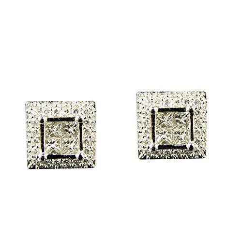 Pendientes de botón con corte de diamante genuino para hombre/mujer Pendientes de plata esterlina chapados en oro blanco