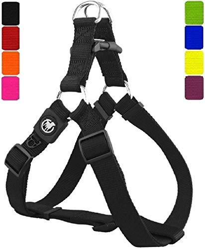 DDOXX Hundegeschirr Nylon, Step-In, verstellbar | viele Farben & Größen | für kleine, mittlere & große Hunde | Brust-Geschirr Hund Katze Welpe groß | Katzen-Geschirr klein | Schwarz, L