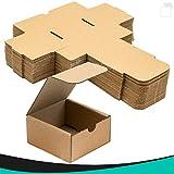 Pack 50 cajas | cartón pequeñas, para envíos ecommerce automontables kraft, paqueteria, joyería, regalo, repostería, jabón, packaging, regalos, envio postal. Medidas 7.5cm * 7.5cm *4 cm