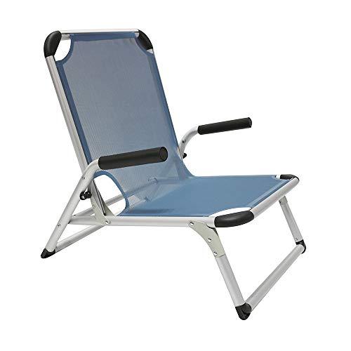 Homecall - Silla de playa plegable de aluminio (azul)