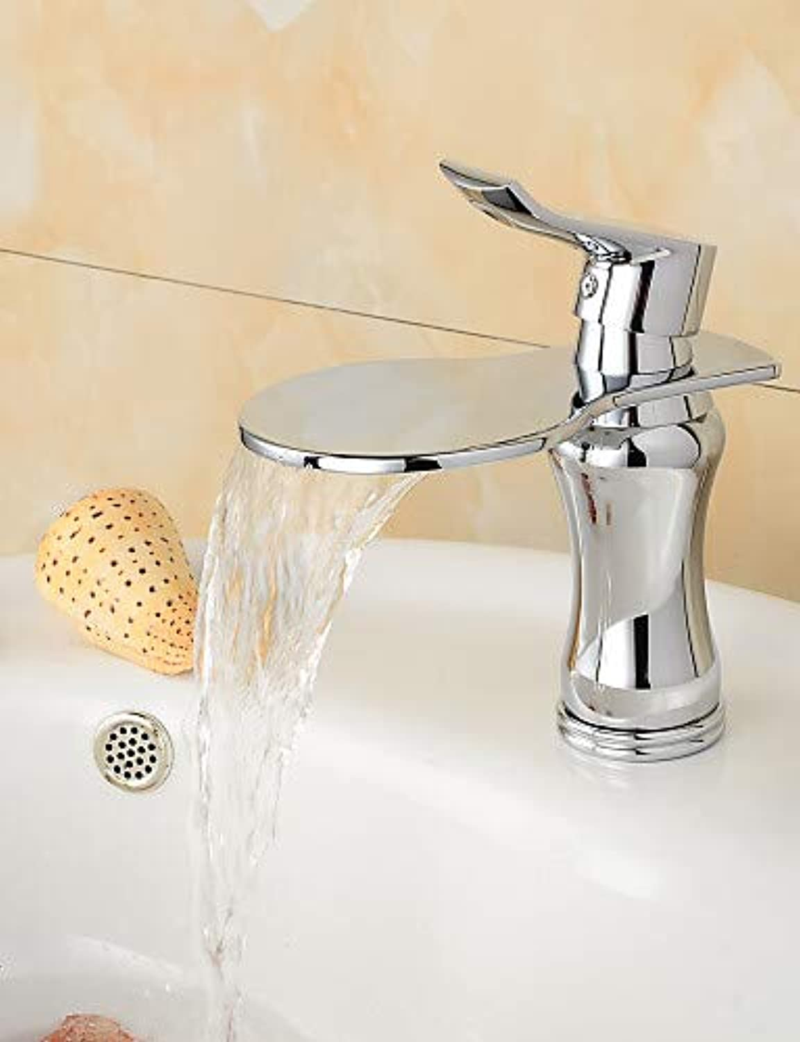 Mainstream home LPZSQ Tap Contemporary Chrome Finish Large Wide-mouth Waterfall Bathroom Sink Faucet (Short) - Sliver  1031