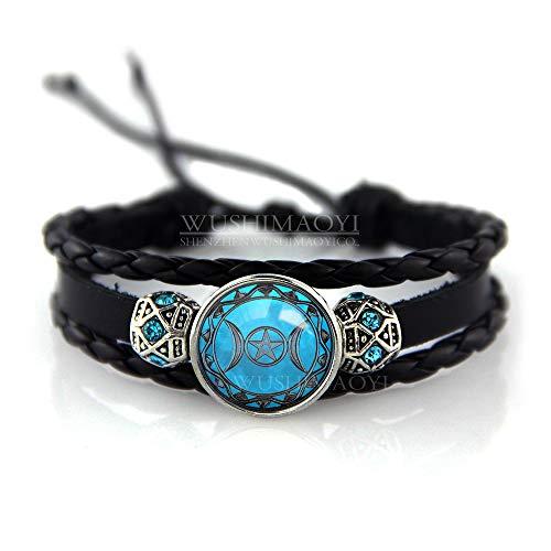 """WUSHIMAOYI Triple Moon Goddess Bracelet Moon Goddess Jewelry Wiccan Bracelet Moon Bracelet Braid Leather Bracelet 6"""""""
