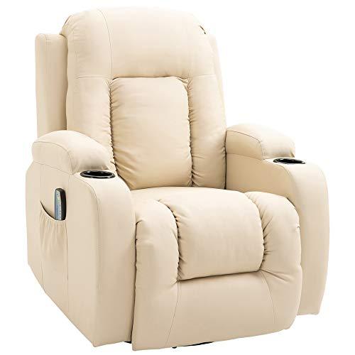 homcom Poltrona Massaggiante Riscaldante Reclinabile in Similpelle Beige con 8 Punti di Massaggio e Telecomando, 85x94x104cm