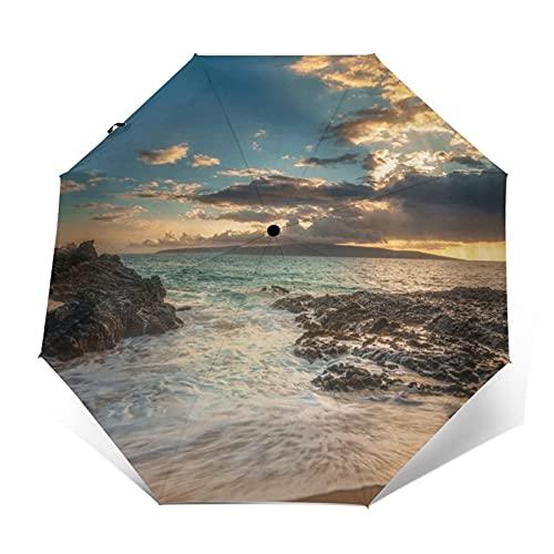 Pengfly Sandy Beach - Sombrilla plegable para playa y playa, tela antiultravioleta, secado rápido para lluvia al aire libre