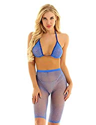 Rhinestone Fishnet Bikini Set In Blue Halter Bra & Shorts