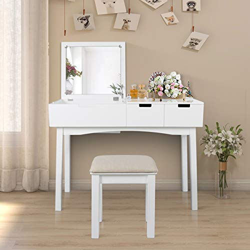 Vanity Table Set with Flip Top Mirror Wooden Makeup Dresser Table with Two Drawers Writing Desk with Cushioned Stool Vanity Desk for Bedroom (White)