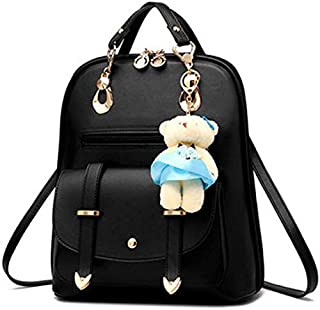 Women's Backpack Purse Pu Leather Ladies Casual Shoulder Bag School Bag for Girls-Black