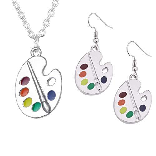 suoryisrty Pendientes 1 par de Pincel de Pintura Paleta de Pintura Colorida Pendientes Colgantes Collar Artista Pintor Joyería