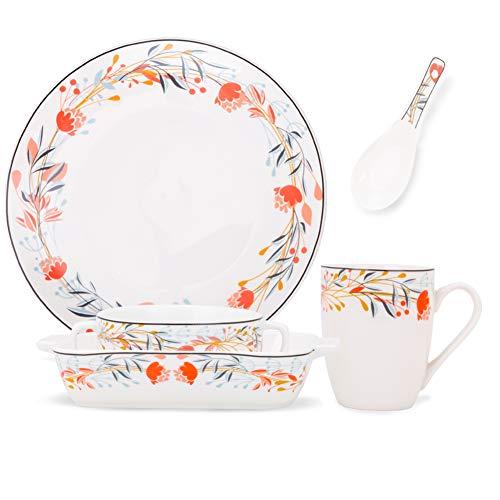 RUXINGGU Creatief Keramisch Serviesbord, Dessert/Saladeschaal, Bakplaat, Mok, Materiaal Keramisch, Magnetron Beschikbaar krans