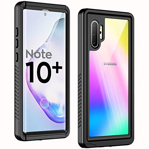 Temdan New Designed for Waterproof Samsung Galaxy Note 10 Plus Case,Clear Sound Quality Built in Screen Protector with Fingerprint ID Film IP68 Waterproof case for Samsung Note 10 plus/5G (Black)