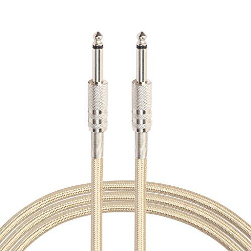 Audio Geflochtenes Nylonkabel 6,35 Klinkenstecker-Aux-Kabel für Gitarre (5m Gold)