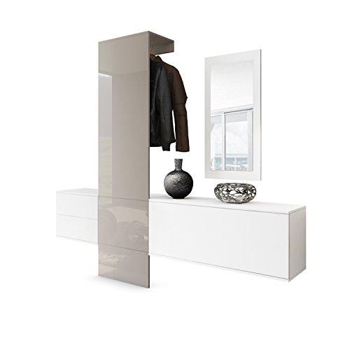 Vladon Garderobe Wandgarderobe Carlton Set 1, Korpus in Weiß matt/Paneel in Sandgrau Hochglanz