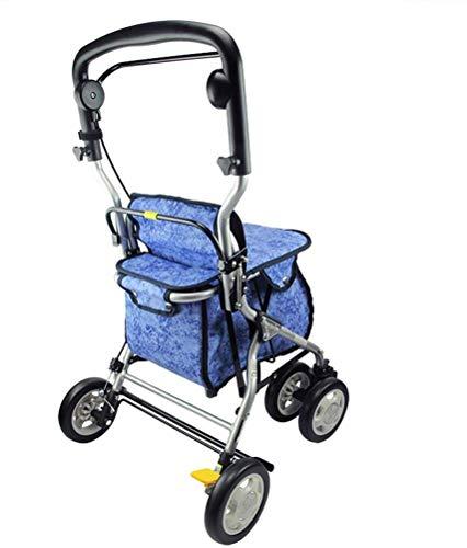 ZJZ Aluminium Vouwen Draagbare Winkelwagen Ouderen Vierwielige Trolley Lichtgewicht Walker Kopen Voedsel Vrachtwagen Rolstoel Gewicht Lager 80kg