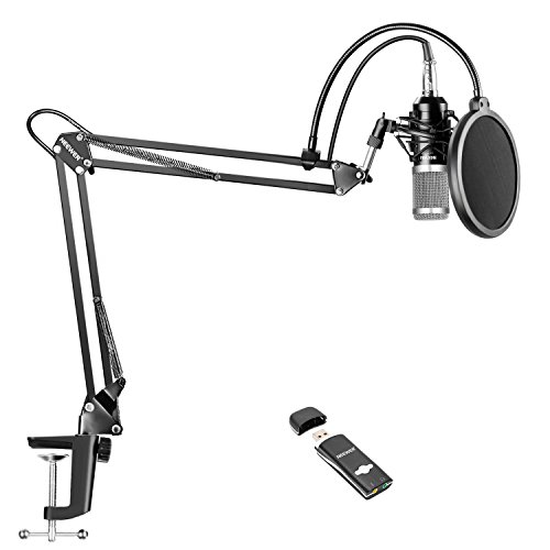 Neewer Pro Condenser Microphone Kit for Studio Recording, Includes: NW-800 Condenser Mic(Silver), Adjustable Suspension Scissor Arm Stand with Shock Mount, Mounting Clamp, USB Sound Card