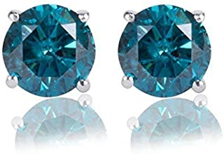 1/4 Carat Premium Blue Diamond Solitaire Screw Back Stud Earrings Pair in 14k White Gold